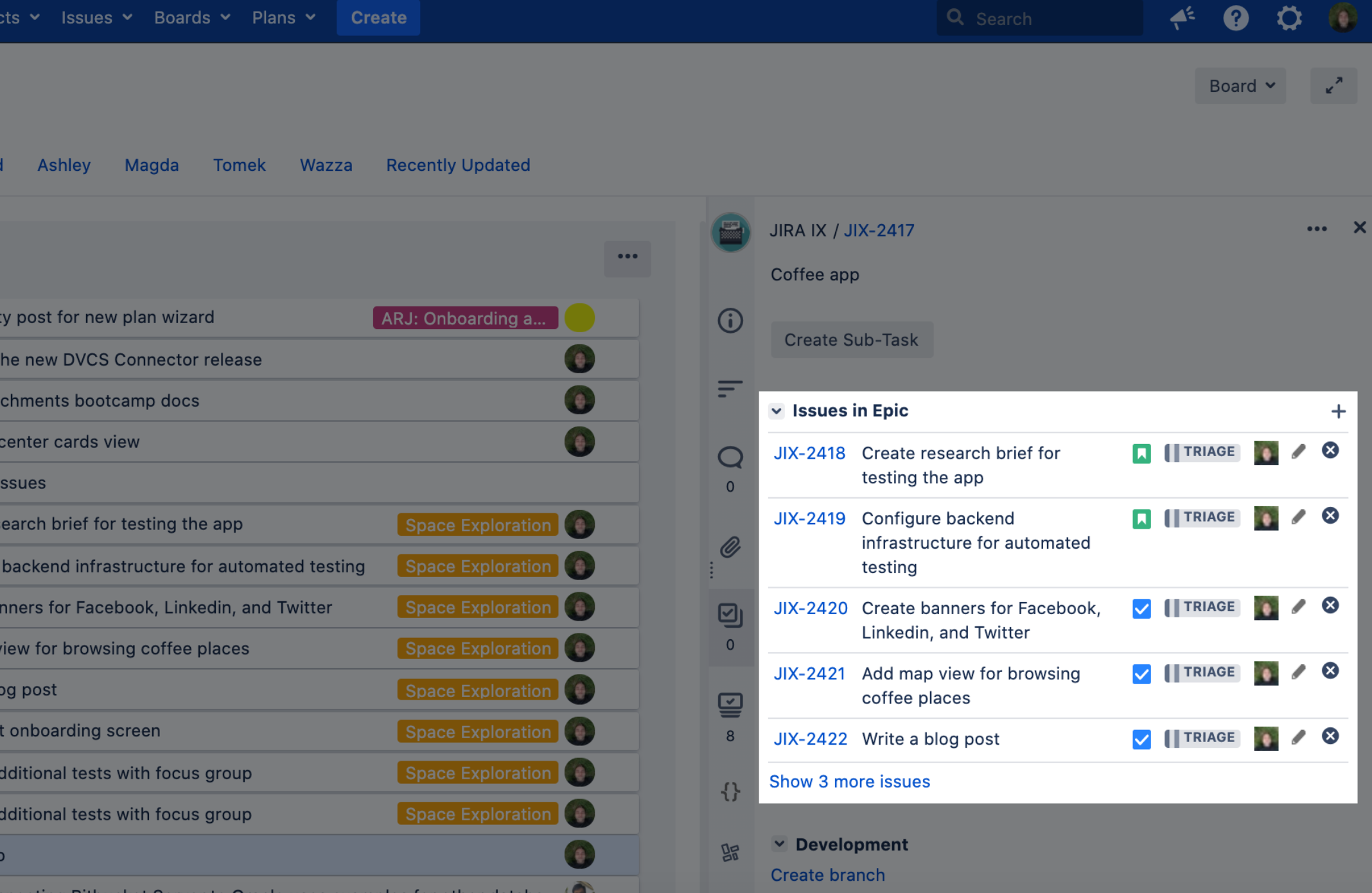 Jira Issues in Epic
