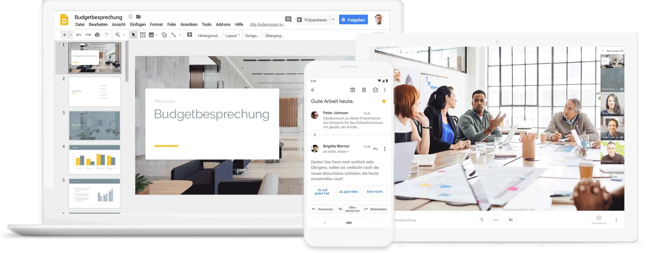 Zusammenarbeit mit Google Workspace per Videokonferenz, Chat und Präsentationen