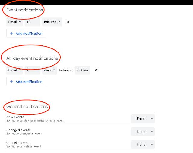 Benachrichtigungen in Google Kalender
