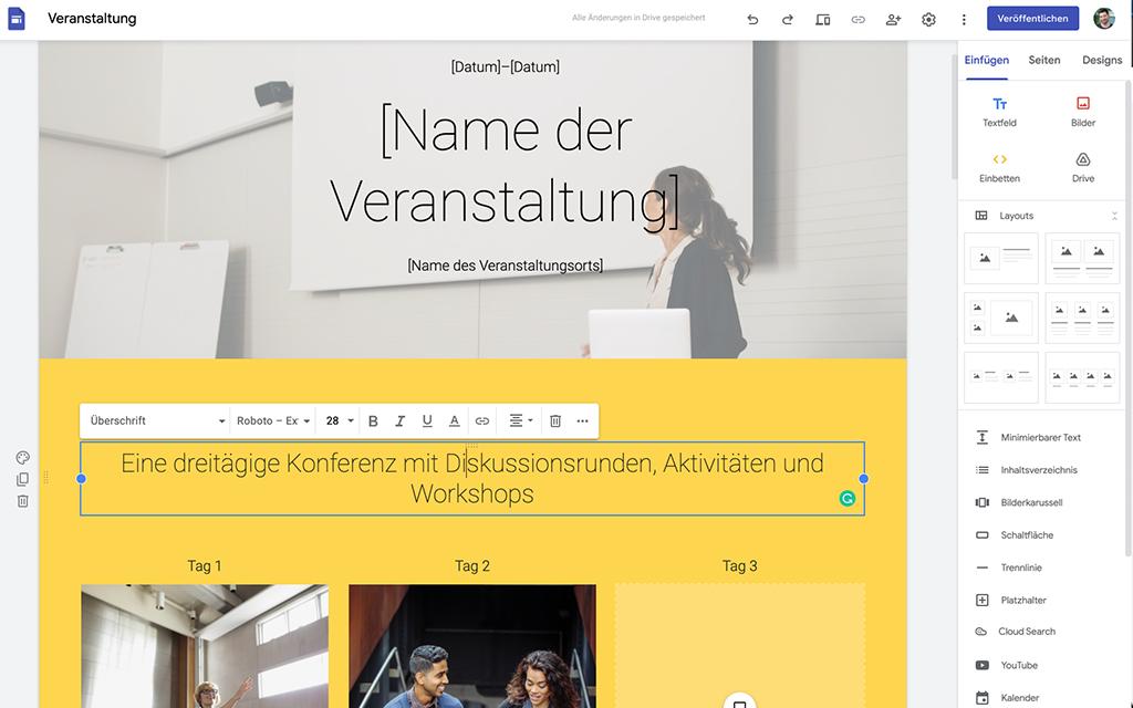 Infoseiten erstellen mit Google Sites