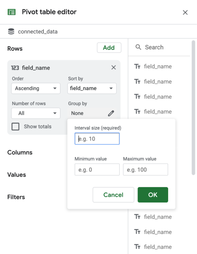 Gruppierung in Pivot-Tabellen in Connected Sheets