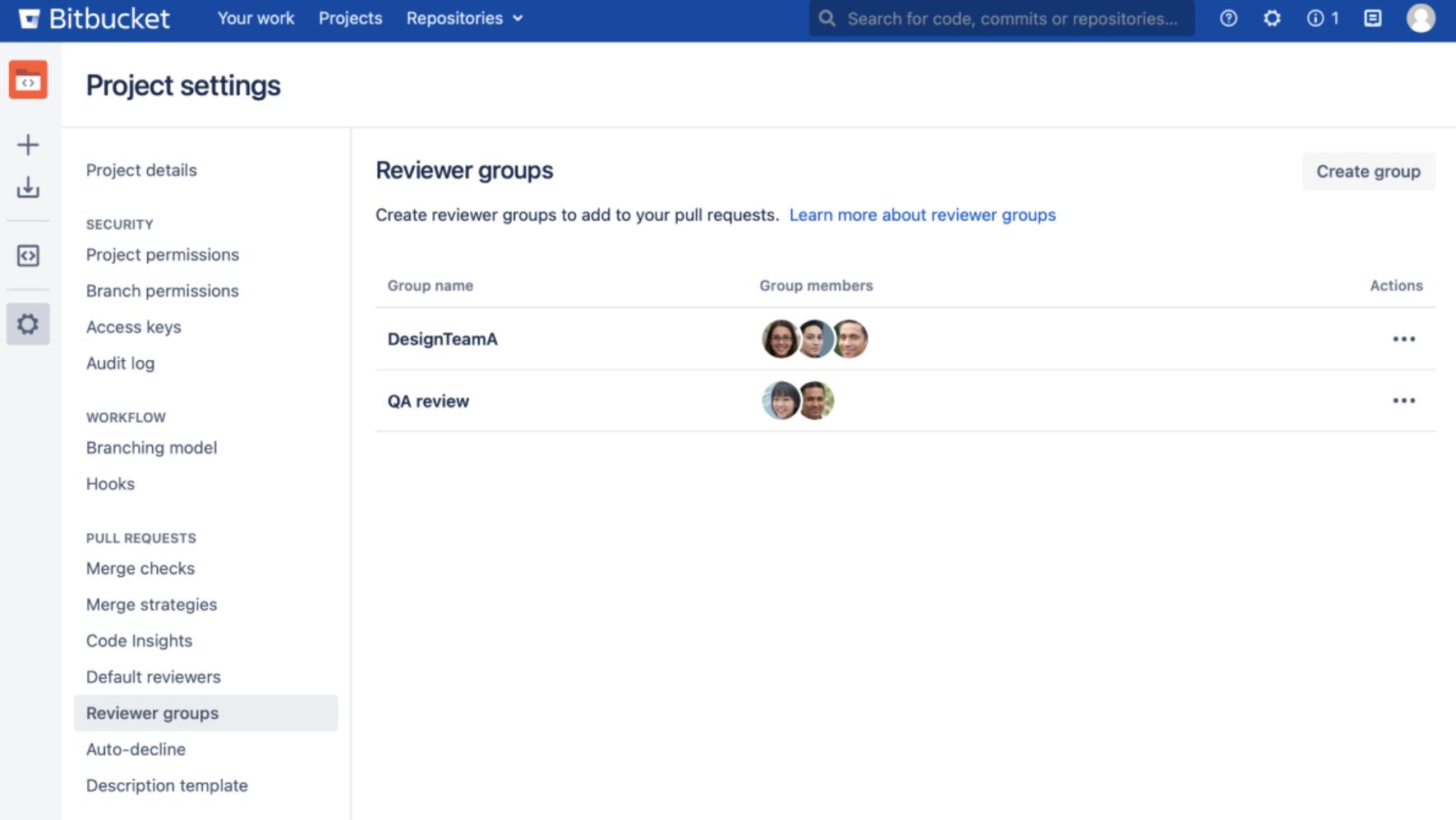 Bitbucket Data Center Reviewer-Gruppen