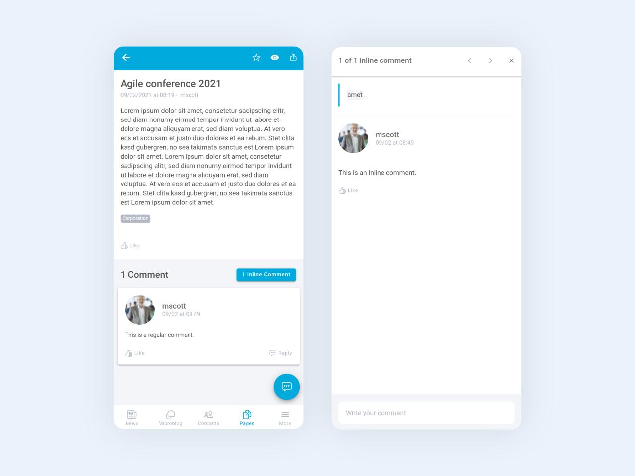 Linchpin Mobile: Neue, separate Ansicht für Inline-Kommentare